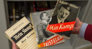 A French,  Finnish and  Danish edition of Adolf Hitler's 'Mein Kampf'  at the Institut fuer Zeitgeschichte in Munich, Germany. Photograph: Matthias Balk/AFP/Getty Images