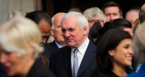 Former taoiseach Bertie Ahern attending a funeral in Donnybrook, Dublin. Photograph: Gareth Chaney Collins