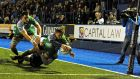 Connacht's Ian Porter scores his side's first try during the Guinness Pro 12 match  at  Cardiff Arms Park. Photograph:  Ashley Crowden/Inpho