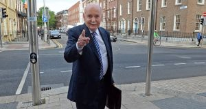 Former Irish Nationwide Building Society chief Michael Fingleton arriving at the  inquiry. Photograph: Eric Luke
