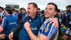 Ballyboden St Enda's manager Andy McEntee and Stephen O'Connor celebrate after the game. Photo: Cathal Noonan/Inpho