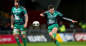 Connacht's special 'green lantern' jersey, worn in their memorable win over Munster at Thomond Park, is now available to buy. Photo: Inpho