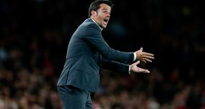 Olympiakos's pragmatic manager Marco Silva will have his side set up to frustrate Arsenal on Wednesday night. Photograph: Afp