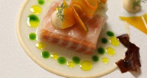 Ross Lewis's marinated Clare Island salmon with crab and pickled winter vegetables