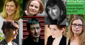 Clockwise from top left, the writers contributing to Writing Rights to mark International Human Rights Day 2015: Sarah Bannan; Martina Devlin; Sara Baume; Anakana Schofield; Nuala O'Connor; Eoin McNamee; and Martina Evans