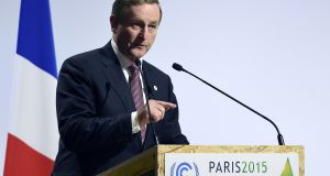 Enda Kenny delivers a speech during the World Climate Change Conference 2015 (COP21) in Paris. Photograph: Alain Jocard/AFP/Getty Images
