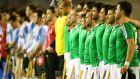Ireland players line up for the national anthems during the qualifying campaign. Photograph: Inpho