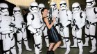 Daisy Ridley poses with Stormtroopers backstage at the Lucasfilm panel during Comic-Con International 2015 at the San Diego Convention Center on July 10, 2015 in San Diego, California.  (Photo by Albert L. Ortega/Getty Images)