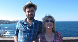 Down under: Barry Dunning with his mother on the Bondi to Coogee walk when she visited Sydney, in 2013