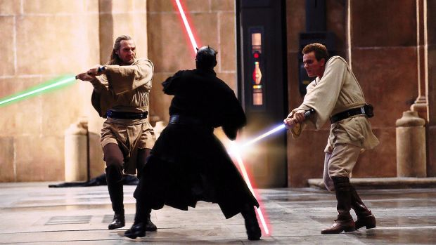 Liam Neeson, Ray Park and Ewan McGregor in a scene from Star Wars: Episode I - The Phantom Menace (1999). Photograph: Lucasfilm