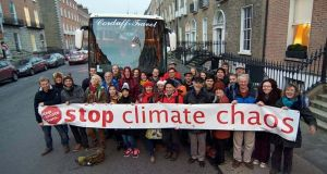 The Irish Stop Climate Chaos contingent before departing for COP21 in Paris. Photograph: Eoin Campbell