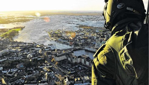 An ariel view of the extensive flooding near near the Shannon.  Photograph: Irish Defence Forces