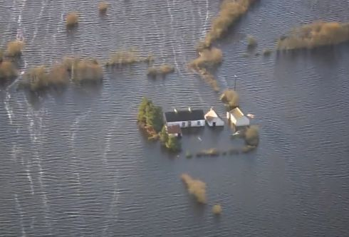 The prospect of more flooding in parts of Athlone, Co Westmeath, seems highly likely, as local residents battle to protect their homes from rising water levels. Photograph: Air Corps