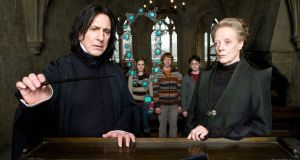 Alan Rickman as Severus Snape, Emma Watson as Hermione Granger, Rupert Grint as Ron Weasley, Daniel Radcliffe as Harry Potter and Maggie SMith as Minerva McGonagall in a scene from Harry Potter and The Half-Blood Prince