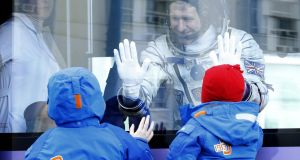 British astronaut Timothy Peake chats with his children before blasting off from the Baikonur  cosmodrome in Kazakhstan on Tuesday. Photograph: Maxim Shipenkov/EPA