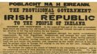 The document is one of an estimated 50 surviving copies of the 1,000 printed in Liberty Hall on Easter Sunday, 1916