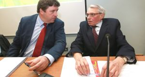 IFA deputy president Tim O'Leary speaking with Economist Con Lucey whose report was published today, at the IFA Executive Council Meeting at the farm Centre in Dublin. Picture: Finbarr O'Rourke