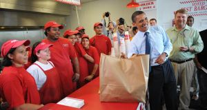 US president Barack Obama at a Five Guys restaurant: the chain is coming to Ireland. Photograph: Mandel Ngan/AFP/Getty Images