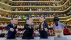 "Clay ""caganer"" (defecator) figures of Albert Rivera, Mariano Rajoy, Pedro Sanchez and Pablo Iglesias at the Santa Llucia market in Barcelona. ""Caganers"" are believed to bring good luck. Photograph: Albert Gea/Reuters"