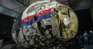 The reconstructed wreckage of the Malaysian Airlines Boeing 777, which was shot down over Ukraine in July. Photograph: Michael Kooren/Reuters