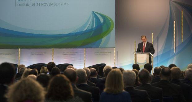 Taoiseach Enda Kenny addresses the Global Irish Economic Forum at Dublin Castle.  Photograph: Brenda Fitzsimons