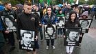 Relatives of prisoners who died during the hunger strikes march with their pictures  at the 'National Hunger strike Commemoration March' in August this year. Picture Nick Bradshaw