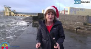 Teresa Mannion says she is broadcasting from a 'relatively dry and calm Salthill'