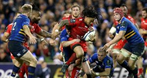 Johnny Sexton tackles Ma'a Nonu during Leinster's Champions Cup defeat to Toulon at the Aviva Stadium. Photograph: Inpho