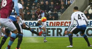 Jordan Ayew equalised for Aston Villa as they drew 1-1 with Newcastle United at St James' Park. Photograph: Getty