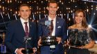 Winner of 2015 Sports Personality of the Year Andy Murray with Sports Personality of the Year runner-up Kevin Sinfield and third-placed  Jessica Ennis-Hill.