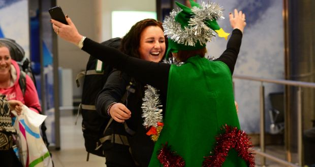 Reunited At Christmas.Families Get The Best Christmas Present As Emigrants