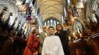 Greg Hayes, chorister in St Patrick's Cathedral, Dublin, with his parents Lorraine and Tony and sister Holly in advance of the Nine Lessons and Carols performance on Christmas Eve .Photograph: Alan Betson