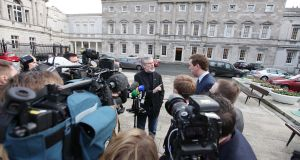 Sinn Fein resident Gerry Adams pictured speaking to media on the plinth at Leinster House,Dublin to comment on reports that more than 1400 children will spend Christmas in emergency accommodation this yearÉÉPic Stephen Collins/Collins Photos