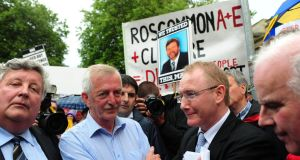 Frank Feighan TD (right) at the Roscommon hospital protest outside Leinster House. Photograph: The Irish TImes