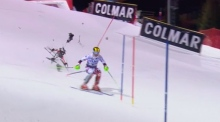 World champion skier narrowly avoids crashing drone