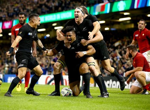 Julian Savea celebrates a  try for New Zealand in the Rugby World Cup semi-final against France. Photograph: Dan Sheridan/Inpho