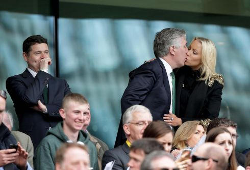 FAI CEO John Delaney with his partner Emma English at the Republic of Ireland v England friendly in June, as Minister of Transport, Tourism and Sport Paschal Donohoe looks on. Photograph: Morgan Treacy/Inpho