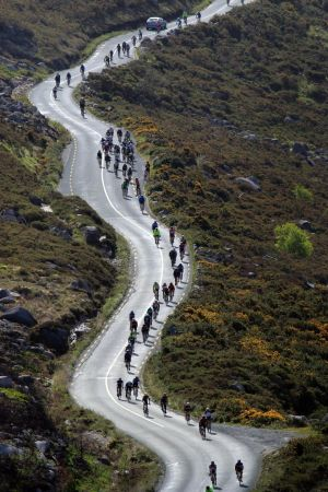 In June almost 3,000 entrants took part in the 200km non-competitive Wicklow 200 Cycle Ride, which passes through the scenic Wicklow Gap. Photograph: Nick Bradshaw