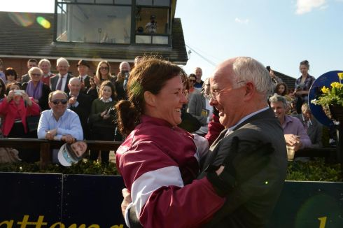 Grand achievement – Katie Walsh and her father Ted Walsh celebrate her winning the Irish Grand National on Thunder and Roses at Fairyhouse in April. Photograph: Cyril Byrne