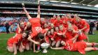 Cork's Hannah Looney is head over heels with joy as she joins team-mates celebrating their All-Ireland senior camogie final win over Galway at Croke Park in September.  Photograph: Eric Luke Photograph: Eric Luke / The Irish Times