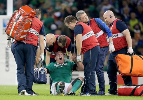 Ireland's Paul O'Connell is injured against France at the Rugby World Cup, Millennium Stadium, Cardiff in October. Photograph: Dan Sheridan/Inpho