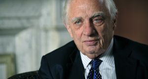 "The ""ruinously selfish"" behaviour of some member states towards refugees has brought the European Union to its knees, former attorney general Peter Sutherland has said.  Photograph: Aidan Crawley"