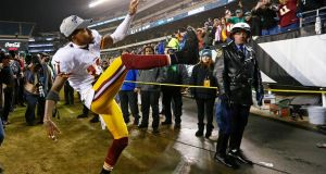 DeSean Jackson of the Washington Redskins celebrates a 38-24 win over the Philadelphia Eagles at Lincoln Financial Field. Photograph: Rich Schultz/Getty Images