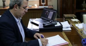 Syrian antiquities chief Maamoun Abdulkarim  at his office in  Damascus. Photograph: Louai Beshara/AFP/Getty