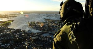 Athlone after Storm Desmond hit the area before Christmas.  This year's El Niño is now peaking and is one of the strongest on record. Photograph: Airman Jamie Martin/Air Corps/PA Wire