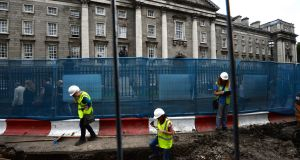 Work on the new Cross City Luas line at College Green in Dublin. File photograph: Dara Mac Dónaill/The Irish Times
