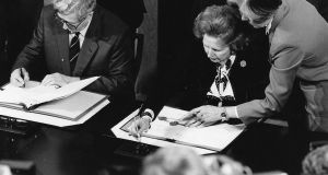 Garret FitzGerald and Margaret Thatcher sign the Anglo-Irish Agreement in 1985. Photograph: Matt Kavanagh