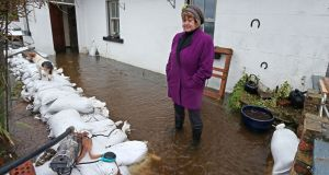 Bridie Willers at her flooded house at Grannagh, Ardrahan in Galway. Photograph: Joe O'Shaughnessy.