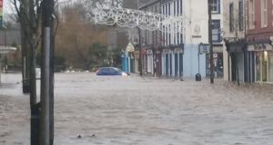 Midleton, Co Cork is under water on Wednesday morning after flooding caused by Storm Frank. Photograph: Padraig Hoare via Twitter