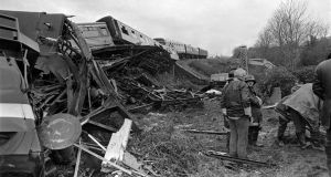 The scene of the rail crash three miles outside Gorey, Co. Wexford, on December 31st, 1975. Photograph: The Irish Times